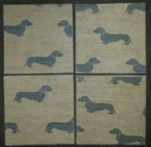 4 Ceramic Coasters in Emily Bond Blue Dachshund Dogs